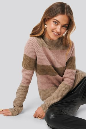NA-KD Raglan Sleeve Striped Knitted Sweater - Multicolor