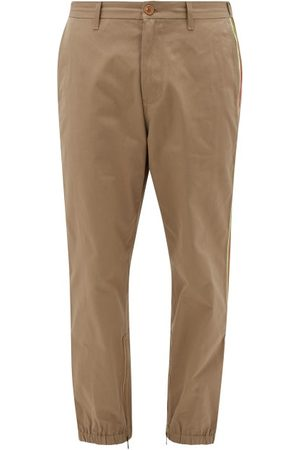 Gucci Gg Web-stripe Cotton Chinos - Mens