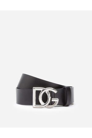 Dolce & Gabbana Men Belts - Belts - LEATHER BELT WITH CROSSED DG LOGO