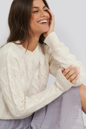 NA-KD Regular Cable Knitted Sweater - White