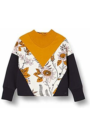 Scotch&Soda Girl's Colour Block Sweat with Turtle Neck and Floral Print Panel Sweatshirt