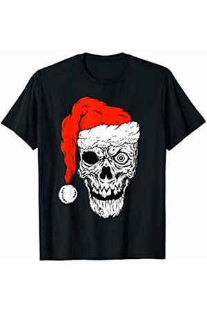 Skeleton Skull Scary Santa Xmas Skeleton Skull Scary Santa Rock n Roll Christmas T-Shirt