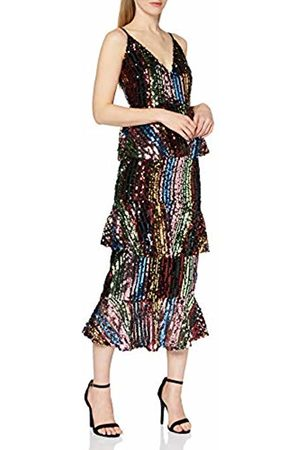 Little Mistress Women's Trixie Rainbow Sequin Tiered Ruffle Midi Dress Party