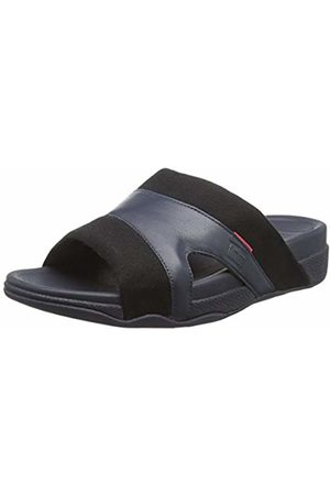 FitFlop Men's Freeway Pool Slide in Leather/Canvas Mix Open Toe Sandals, ( /Supernavy 401)
