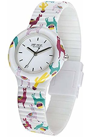 Hip Ladys' Animals Addicted Watch Collection Mono-Colour White dial 3 Hands Quartz Movement and Silicon Printed White Strap HWU0954