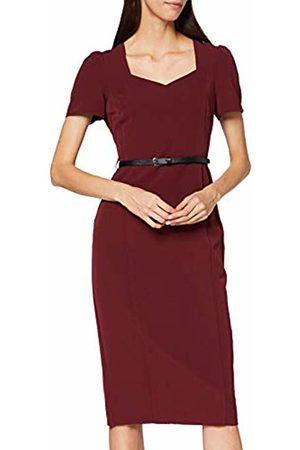 Dorothy Perkins Women's Sweetheart Neckline Ruched Sleeve Damson Dress