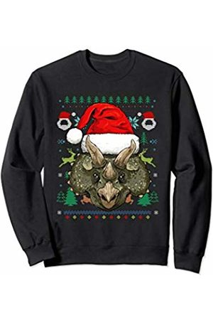 Wowsome! Triceratops Dino Ugly Christmas Santa Hat Xmas Gifts Sweatshirt