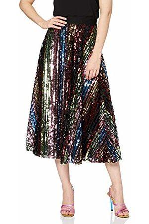 Little Mistress Women's Trixie Rainbow Sequin Midi Skirt