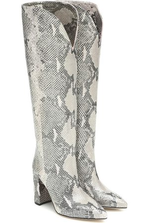 PARIS TEXAS Snake-effect knee-high leather boots