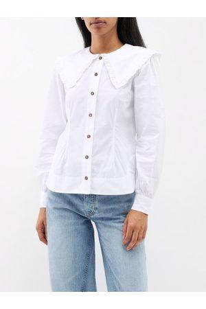 Ganni Ruffled-collar Cotton-poplin Shirt - Womens