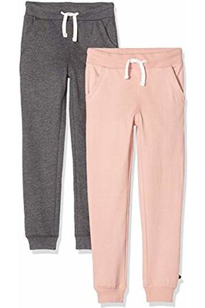 Minymo 3937 Children's Jogging Bottoms for Girls Age 7-8 Years Age 8 and Dark Grey Pack of 2