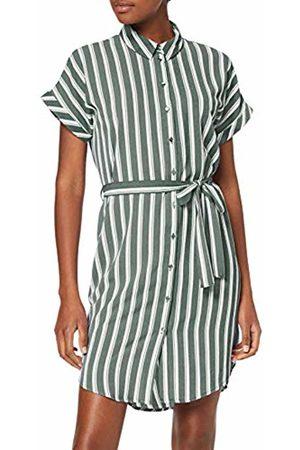 Vero Moda Women's Vmsasha Shirt Ss Dress Color (Laurel Wreath Stripes: Snow Coco)