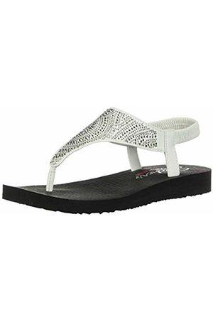 Skechers Women's Meditation Flip Flops, ( Duraleather/Clear Rhinestone Wht)