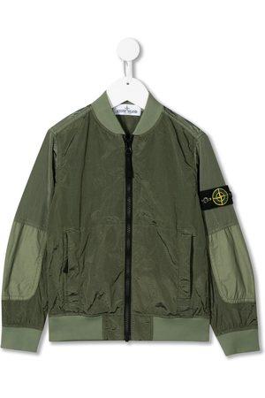Stone Island Junior Boys Bomber Jackets - Waxed shell bomber jacket