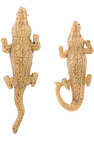 Natia X Lako Small Crocodile earrings - Metallic