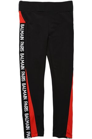 Balmain Stretch Leggings W/ Side Logo Bands
