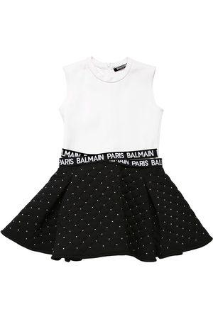 Balmain Jersey & Quilted Cotton Dress W/ Studs