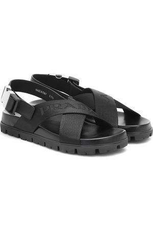 Prada Crossover leather and nylon sandals