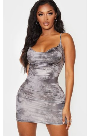 PRETTYLITTLETHING Women Bodycon Dresses - Shape Tie Dyed Slinky Cowl Neck Bodycon Dress