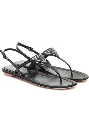 Prada Logo patent leather sandals