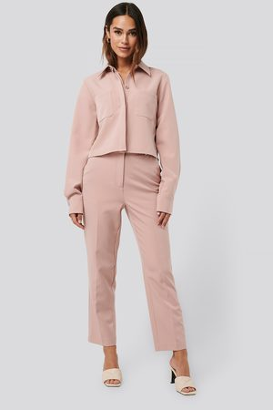 NA-KD Tailored Cropped Suit Pants - Pink