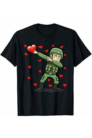 TeeIsle Valentine's Day Apparel Dabbing Soldier Heart Love Valentines Day Gift Girls Boys T-Shirt