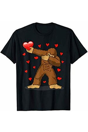 TeeIsle Valentine's Day Apparel Dabbing Bigfoot Red Heart Love Valentines Day Gift Girl Boy T-Shirt
