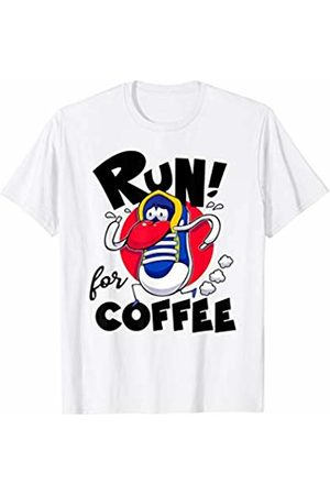 Run for Something Run for Coffee Funny Shoe Running for a cup of Coffee T-Shirt