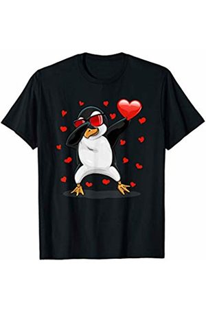 TeeIsle Funny Valentine's Day Apparel Dabbing Penguin Sunglasses Valentine's Day Heart Girls Boys T-Shirt
