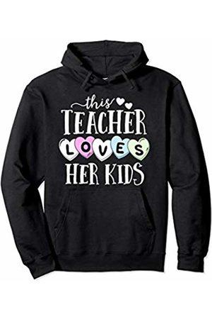 Beloved Teacher Co This Teacher Loves Her Kids Hearts School Valentines Day Pullover Hoodie