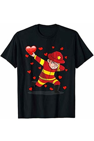 TeeIsle Valentine's Day Apparel Boys T-shirts - Dabbing Firefighter Heart Love Valentines Day Gift Girl Boy T-Shirt
