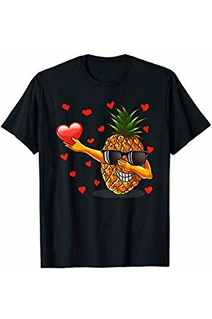 TeeIsle Valentine's Day Apparel Dabbing Pineapple Heart Love Valentines Day Gift Girls Boys T-Shirt