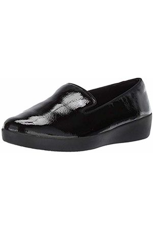 FitFlop Women's Audrey Smoking Slipper - Patent Loafers, ( 001)