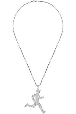 777 Men Necklaces - 18kt gold diamond running man necklace - 114 - :
