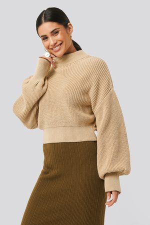 NA-KD Wide Rib Balloon Sleeve Sweater - Beige