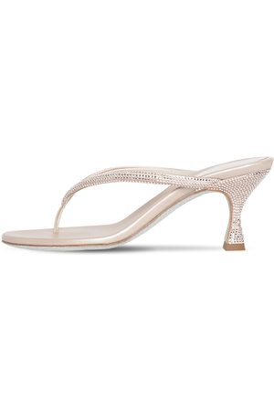 RENÉ CAOVILLA 65mm Embellished Satin Thong Sandals