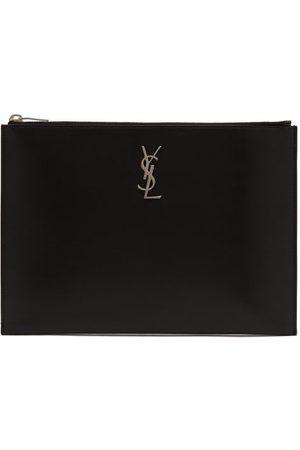 Saint Laurent Ysl-plaque Leather Pouch - Mens