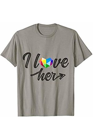 LGBT Gay Pride Equality Rainbow Matching Tshirts I love her LGBT Pride Awareness Lesbian Rainbow Heart Funny T-Shirt