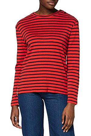 Scotch&Soda Maison Women's Breton Long Sleeve Tee in Front and Back Stripe Mix Top