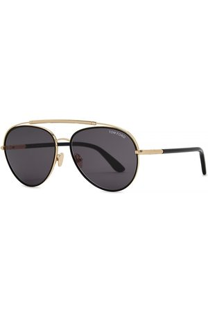 Tom Ford Gold-tone Aviator-style Sunglasses
