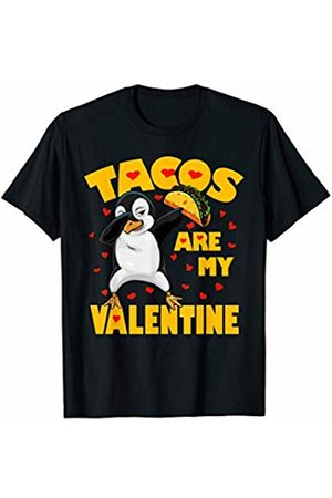 Funny Tacos are My Valentine by TeeIsle Tacos Are My Valentine Dabbing Penguin Valentines Day Gift T-Shirt