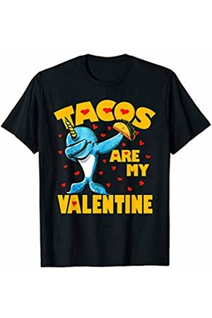 Funny Tacos are My Valentine by TeeIsle Tacos Are My Valentine Dabbing Narwhal Valentines Day Gift T-Shirt