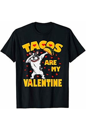 Funny Tacos are My Valentine by TeeIsle Tacos Are My Valentine Dabbing Bulldog Valentines Day Gift T-Shirt
