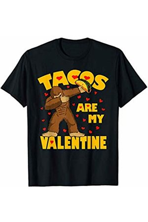 Funny Tacos are My Valentine by TeeIsle Tacos Are My Valentine Dabbing Bigfoot Valentines Day Gift T-Shirt