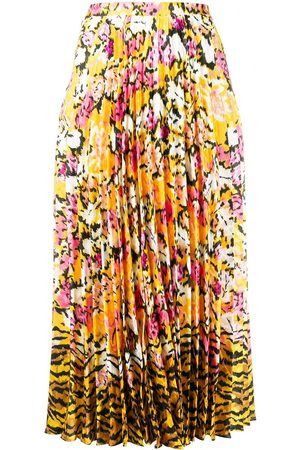 SALONI Floral-print pleated skirt