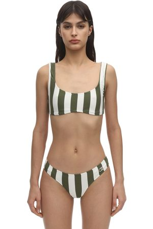 Solid Elle Safari Striped Lycra Bikini Top