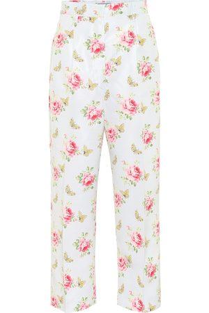 Prada Floral high-rise silk pants