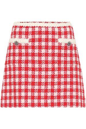 Miu Miu Checked wool-blend tweed miniskirt