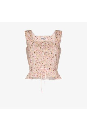 BATSHEVA Amy floral cotton bustier top