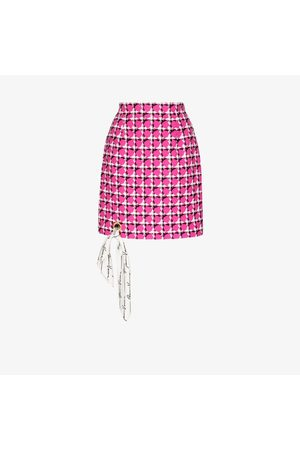 VERSACE Houndstooth scarf trim mini skirt